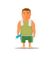 Cartoon guy after work out with towel and water vector image vector image