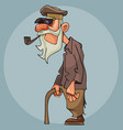 cartoon old man smoking a pipe and leaning on a vector image