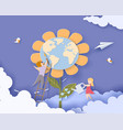 children caring for earth flower vector image