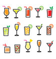 cocktails popular alcohot drinks icons vector image vector image