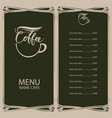 coffee menu with cup of coffee and price list vector image vector image