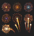 collection festive fireworks of various colors vector image vector image