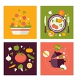 Colored fresh healthy food flat design with fruits vector image vector image