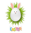 easter background with 3d white egg on green grass vector image
