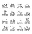 farming icons in a thin linear style vector image vector image
