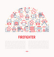 firefighter concept in half circle vector image vector image