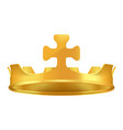 Golden crown with cross 3d icon realistic