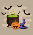 halloween card with cauldron vector image vector image