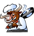 Hand-drawn of an Bull Chef Cook holding a Pan over vector image vector image