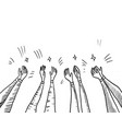 hand drawn sketch style human hands clapping vector image vector image