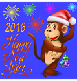 holiday card with a dancing monkey a vector image vector image