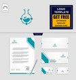 laboratory share logo template and stationery vector image vector image