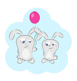 love bunny balloons vector image vector image
