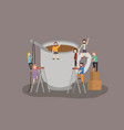 mini people with coffee drink vector image