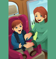 mother putting on seatbelt for her son vector image vector image