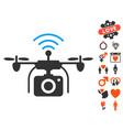 radio camera drone icon with lovely bonus vector image vector image