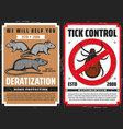 rats and tick with warning sign pest control vector image