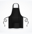 realistic detailed 3d black blank kitchen apron vector image