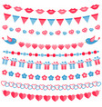 red and blue garland set isolated on white vector image