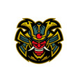 samurai evil head mascot logo vector image vector image