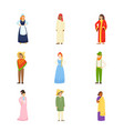 set different people character in national vector image