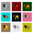 set of in flat style lions vector image vector image