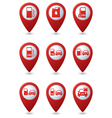 Set of Transport RED pointer vector image vector image