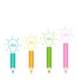 set pencils and shining light bulbs business id vector image