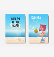 set summer ocean badge isolated typographic design vector image