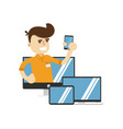 smiling seller man with electronic gadgets vector image vector image