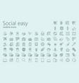 social easy outline icon set vector image vector image
