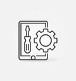 tablet with screwdriver and gear outline vector image