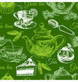 Tea and cake seamless pattern Hand drawn sketch vector image vector image