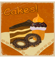 Vintage background image of a piece of cake vector image vector image