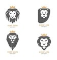 Set of the abstract lion heads with crowns vector image