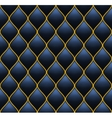 Dark Deep Blue with Gold Quilted Leather Seamless vector image