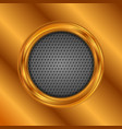 abstract bronze circle on perforated metallic vector image vector image