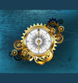 antique compass with gears vector image vector image