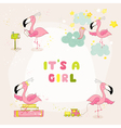Baby Flamingo Set - Baby Shower or Arrival Card vector image vector image