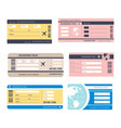 boarding passes isolated icons airplane traveling vector image