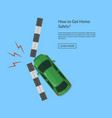 car accident with footpath top view vector image