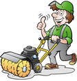 cartoon of a happy gardener with his sweeping vector image vector image