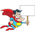 Cartoon super hero flying while holding a sign vector image
