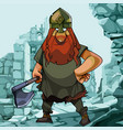 cartoon viking on a background of blue ruins vector image vector image