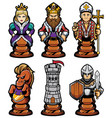 chess pieces mascot set vector image vector image