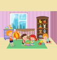 children playing with toys in playroom vector image