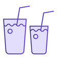 cocktail glasses flat icon two beverages violet vector image vector image