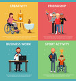 concept pictures of disabled people rehabilitation vector image