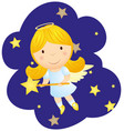 cute cartoon angel girl vector image vector image