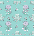 cute seamless patterns with jelly fish and octopus vector image